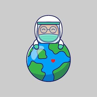 Médico fofo abraçando o planeta terra