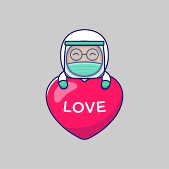 Médico fofo abraçando um balão do amor