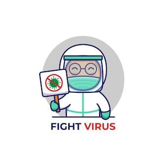 Médico fofo carregando sinal de vírus de luta