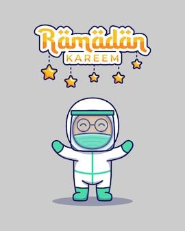 Médico fofo com saudação ramadan kareem