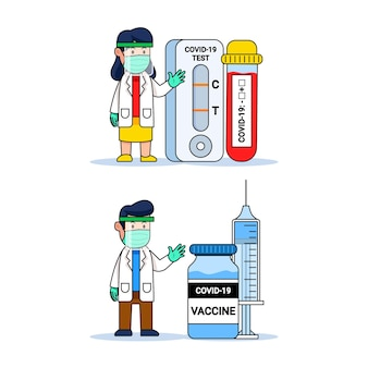 Médico fofo personagem de desenho animado com ferramenta de diagnóstico covid e frasco de vacina