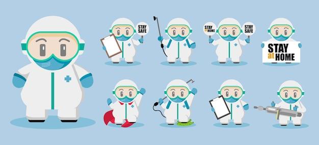 Médico fofo usando o conjunto de personagens de desenhos animados hazmat
