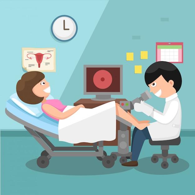 Médico, ginecologista, realizando exame físico