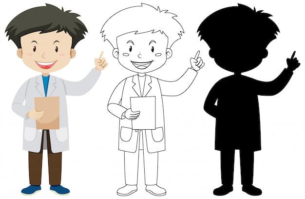 Médico homem de cor e contorno e silhueta