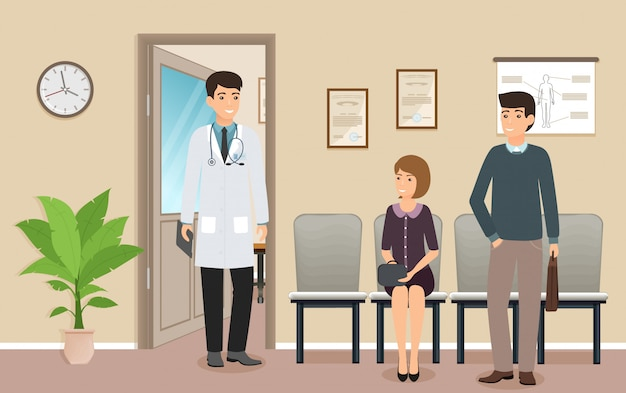 Médico homem de uniforme encontra os caracteres do paciente na clínica médica. pacientes de mulher e homem perto de um consultório médico.