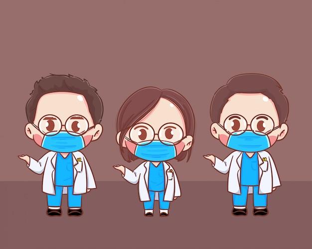 Médico homem e mulher em traje de proteção pessoal usam uma máscara médica protetora cirúrgica para evitar a ilustração de vírus