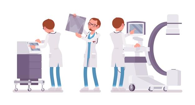 Médico homem radiografando. homem de uniforme de hospital, examinando os órgãos do corpo, digitalizando no computador. conceito de medicina e saúde. ilustração dos desenhos animados de estilo no fundo branco