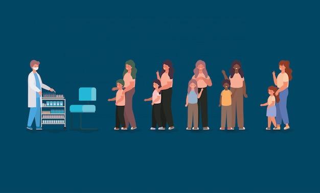 Médico homem vacinar crianças e mães design de ilustração de tema de cuidados médicos saúde e emergência