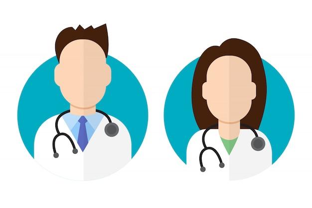 Médico ícone estilo plano masculino e feminino