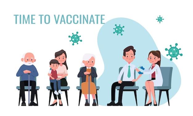 Médico injeta vacina contra gripe em homens em ilustração de hospital