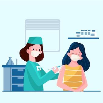 Médico injetando vacina em um paciente ilustrado