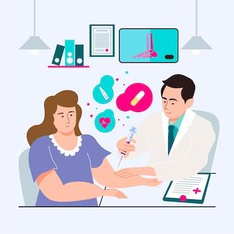 Médico injetando vacina em um paciente