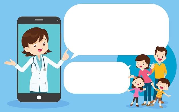 Médico inteligente na tela do telefone com a família, mobile app family doctor