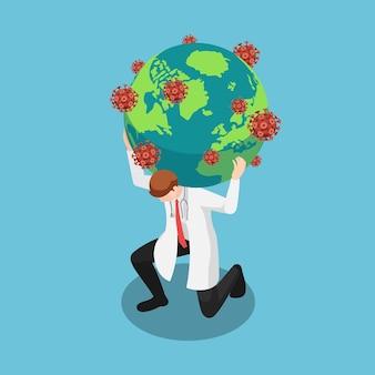 Médico isométrico 3d plano carregando o mundo com o vírus covid19 ou coronavírus