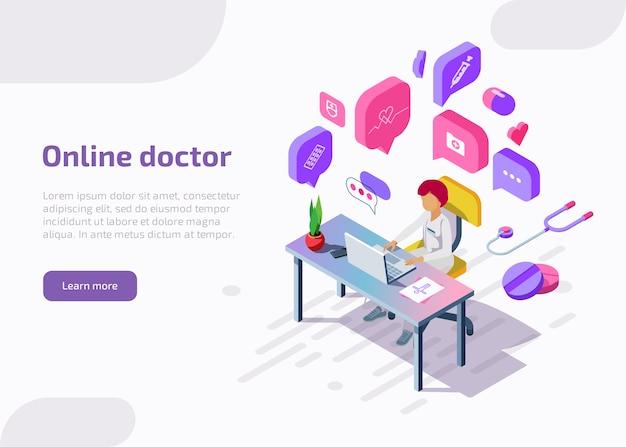 Médico isométrico online prestando consultoria remotamente