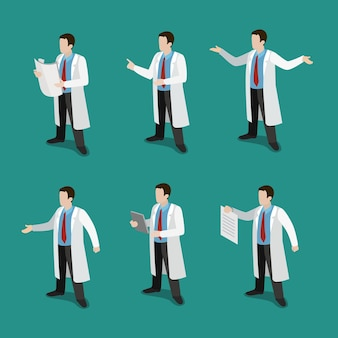 Médico isométrico plano no conceito de conjunto de ícones de trabalho
