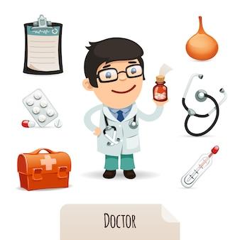 Médico, jogo, com, um, doutor masculino