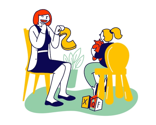 Médico logopedista praticando com a garotinha. ilustração plana dos desenhos animados