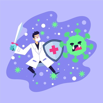 Médico lutando contra um vírus irritado