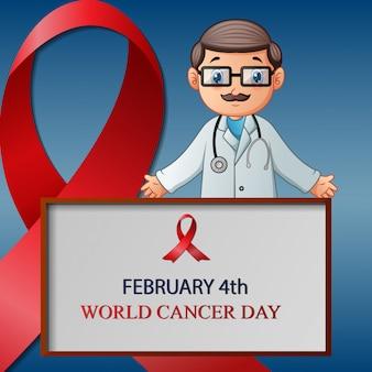 Médico masculino, apontando para médicos board.4 de madeira. cartaz de dia de câncer de mundo de fevereiro