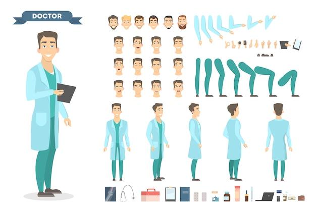Médico masculino chaeacter conjunto com poses e emoções.