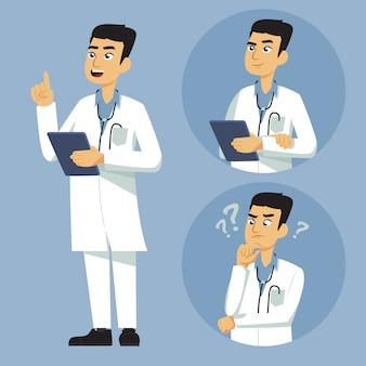 Médico masculino, com, adicional, expressão, ilustração