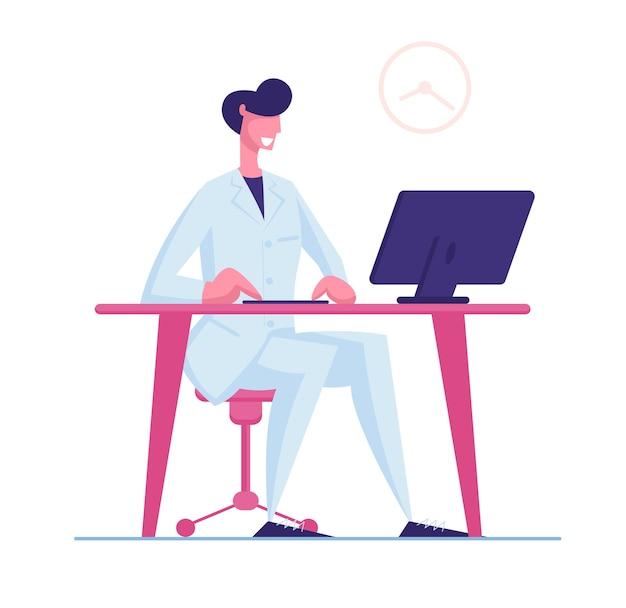 Médico masculino com manto médico branco, trabalhando no computador, sentado à mesa