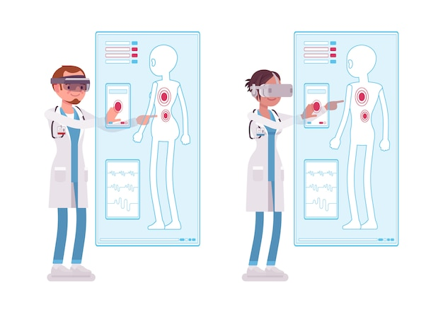 Médico masculino e feminino, fazendo o diagnóstico de vr. pessoas no hospital e terapia de imersão em realidade virtual. medicina, conceito de saúde. ilustração dos desenhos animados de estilo no fundo branco