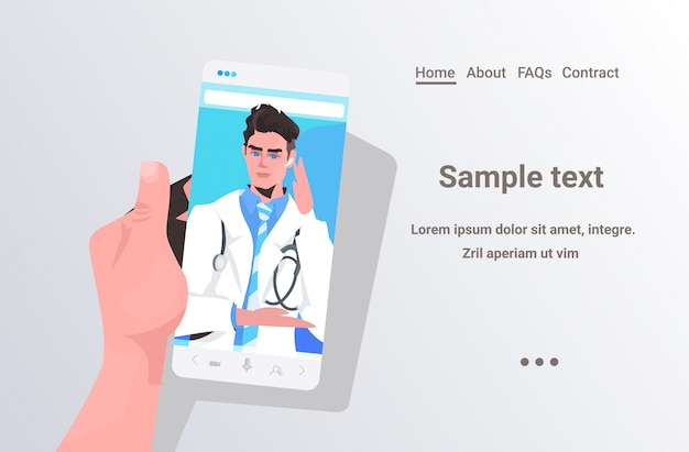 Médico masculino na tela do smartphone consulta médica on-line conceito de medicina de saúde paciente tendo vídeo chat com ilustração de espaço cópia horizontal de médico