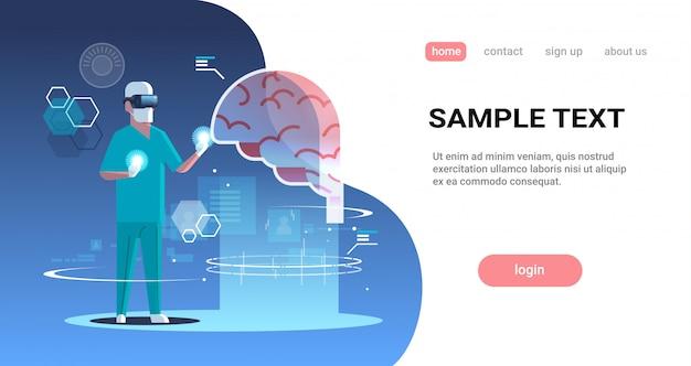 Médico masculino usando óculos digitais realidade virtual cérebro órgão humano anatomia médica vr fone de ouvido