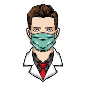 Médico masculino usar máscara médica
