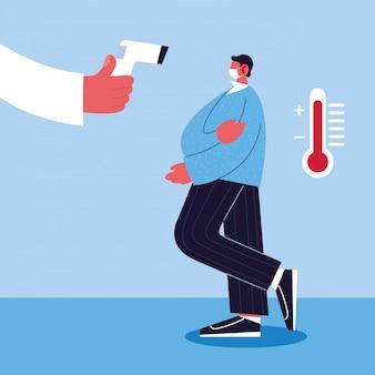 Médico mede a temperatura de um homem em uma máscara médica, prevenção de coronavírus