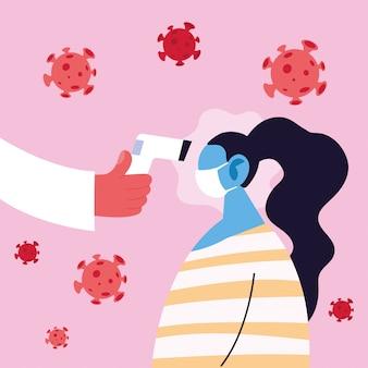 Médico mede a temperatura de uma mulher em uma máscara médica, prevenção de coronavírus