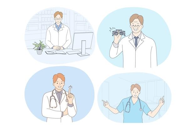 Médico, medicina, saúde, terapeuta, medicare, conceito de clínica. médicos jovens sorridentes