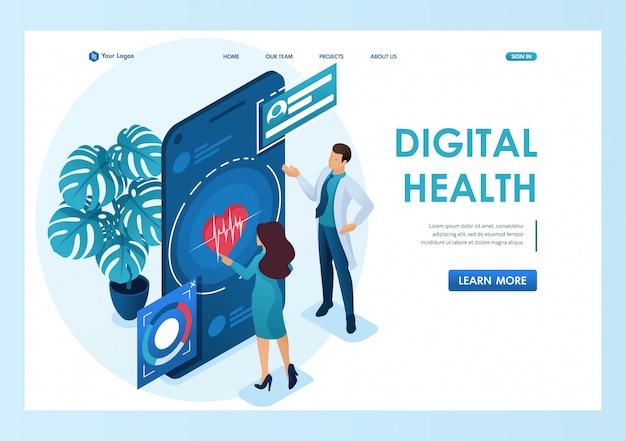 Médico mostra o médico mostra como usar o aplicativo para manter a saúde. conceito de cuidados de saúde. 3d isométrico. conceitos da página de destino e web design