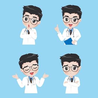 Médico mostra uma variedade de gestos e ações em roupas de trabalho.