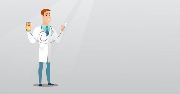 Médico mostrando app para medir o pulso do coração.