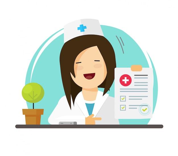 Médico mostrando bom diagnóstico ou médico com formulário de documento em papel com relatório de resultados de sucesso