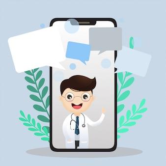 Médico móvel. doutor sorridente na tela do telefone.