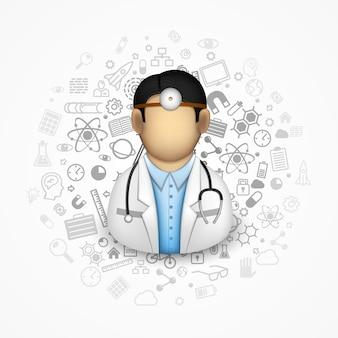 Médico muitos ícones no fundo. ilustração vetorial