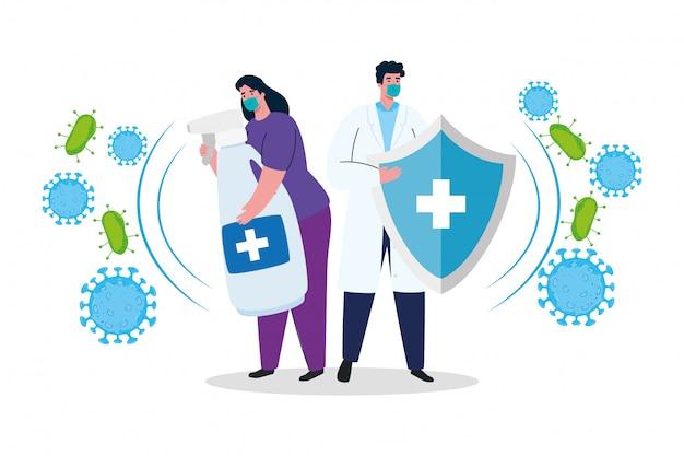 Médico mulher e homem com máscara mãos desinfetante e escudo