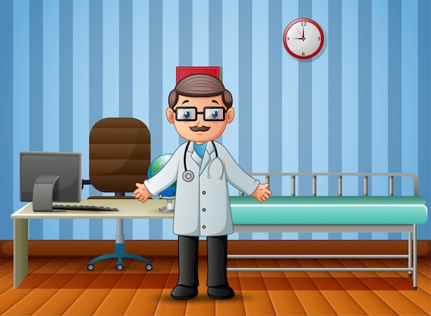 Médico na enfermaria do hospital sem pacientes