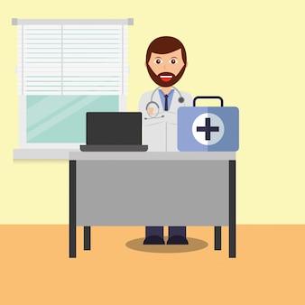 Médico na sala de consulta computador mesa médica mala
