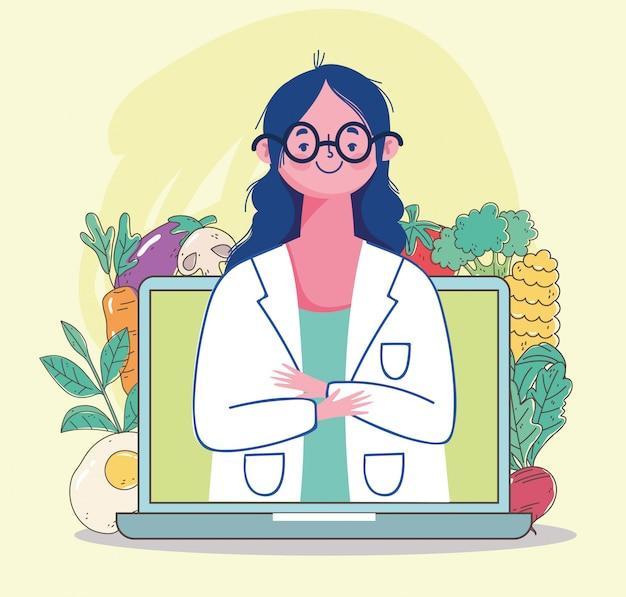 Médico nutricionista feminino em vídeo laptop, alimentos saudáveis orgânicos de mercado fresco com ilustração de frutas e legumes