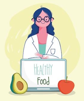 Médico nutricionista tomate abacate e laptop, alimentos saudáveis orgânicos de mercado fresco com ilustração de frutas e legumes