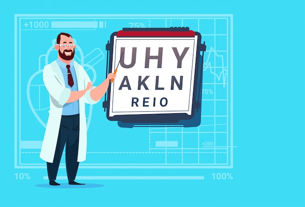 Médico oftalmologista com visão teste médico oculista clínicas trabalhador hospital
