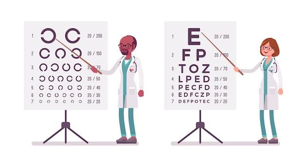 Médico oftalmologista masculino e feminino