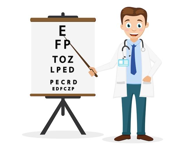 Médico oftalmologista mostra um ponteiro para o texto em um fundo branco. examinação do olho.