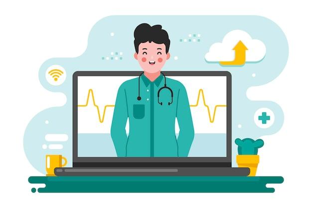 Médico on-line com laptop