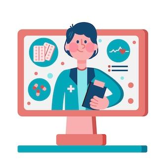 Médico on-line ilustrado
